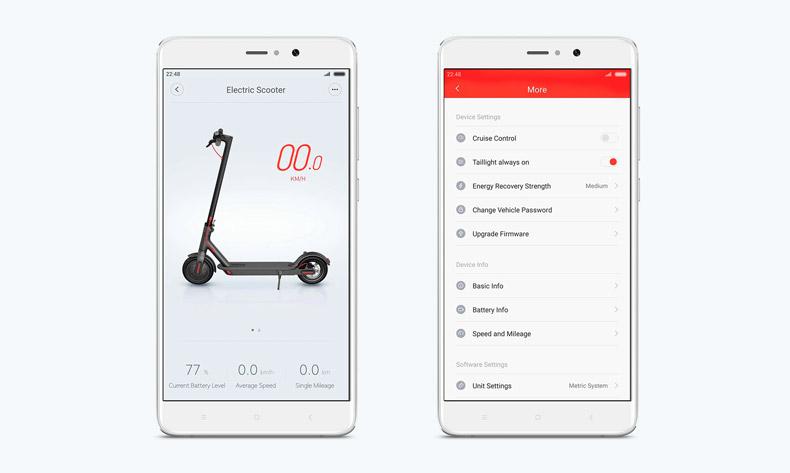 Aplicación para móvil Android iPhone del Xiaomi Mijia Scooter